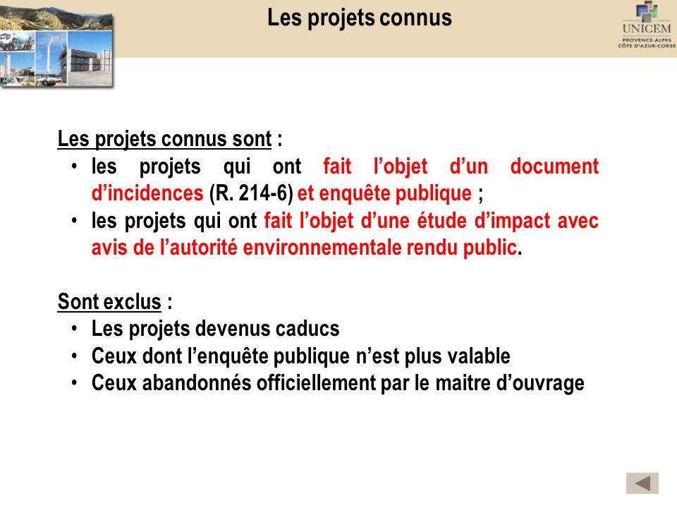 Les projets connus Les projets connus sont :