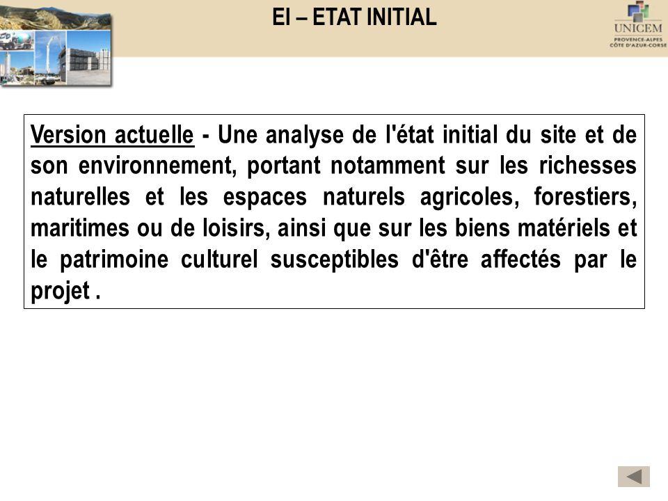 EI – ETAT INITIAL