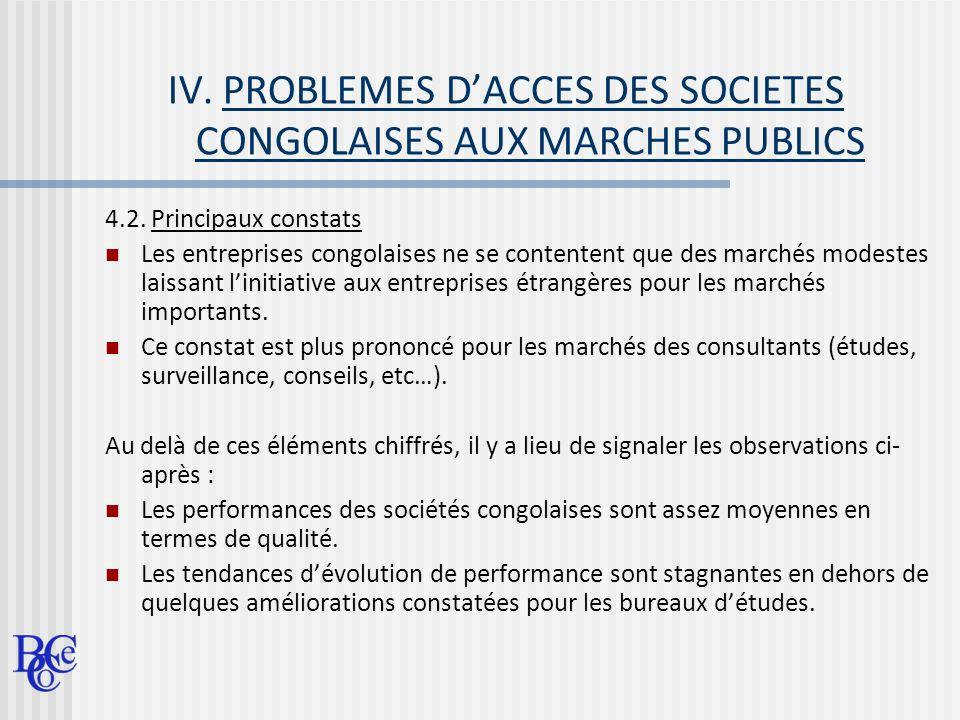 IV. PROBLEMES D'ACCES DES SOCIETES CONGOLAISES AUX MARCHES PUBLICS