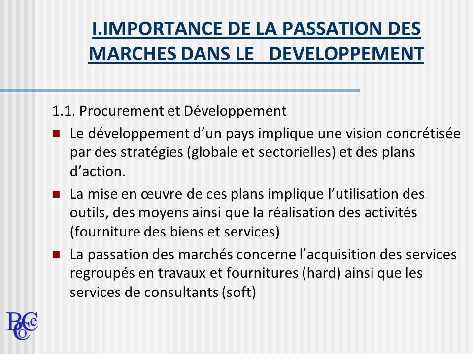 I.IMPORTANCE DE LA PASSATION DES MARCHES DANS LE DEVELOPPEMENT