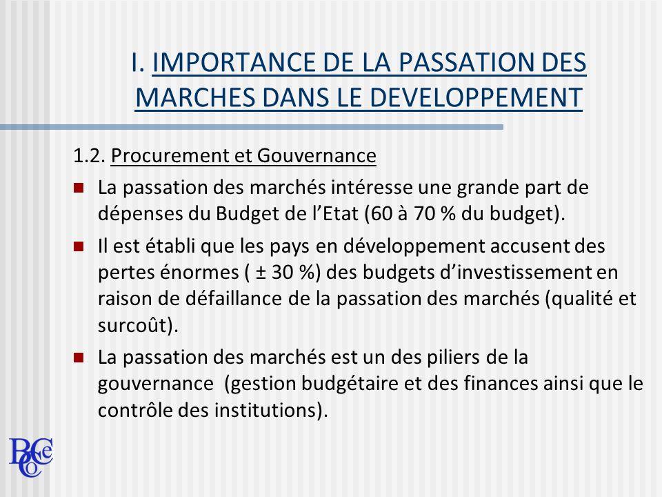 I. IMPORTANCE DE LA PASSATION DES MARCHES DANS LE DEVELOPPEMENT