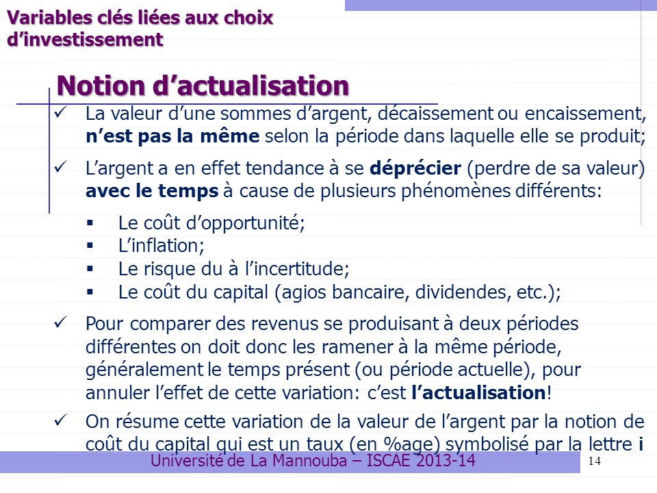 Notion d'actualisation