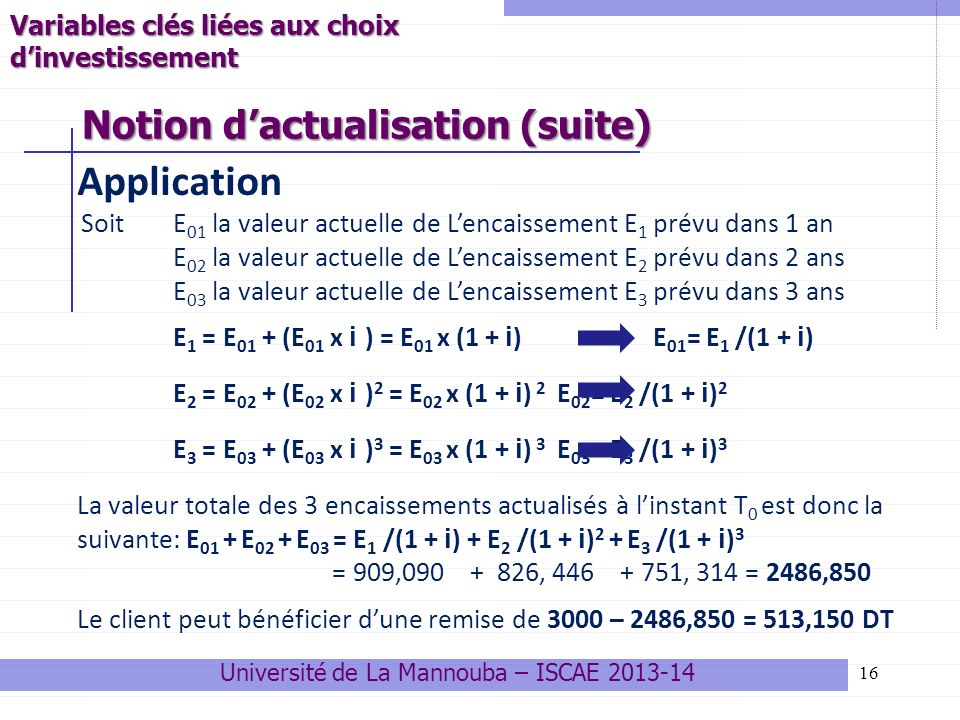 Notion d'actualisation (suite)