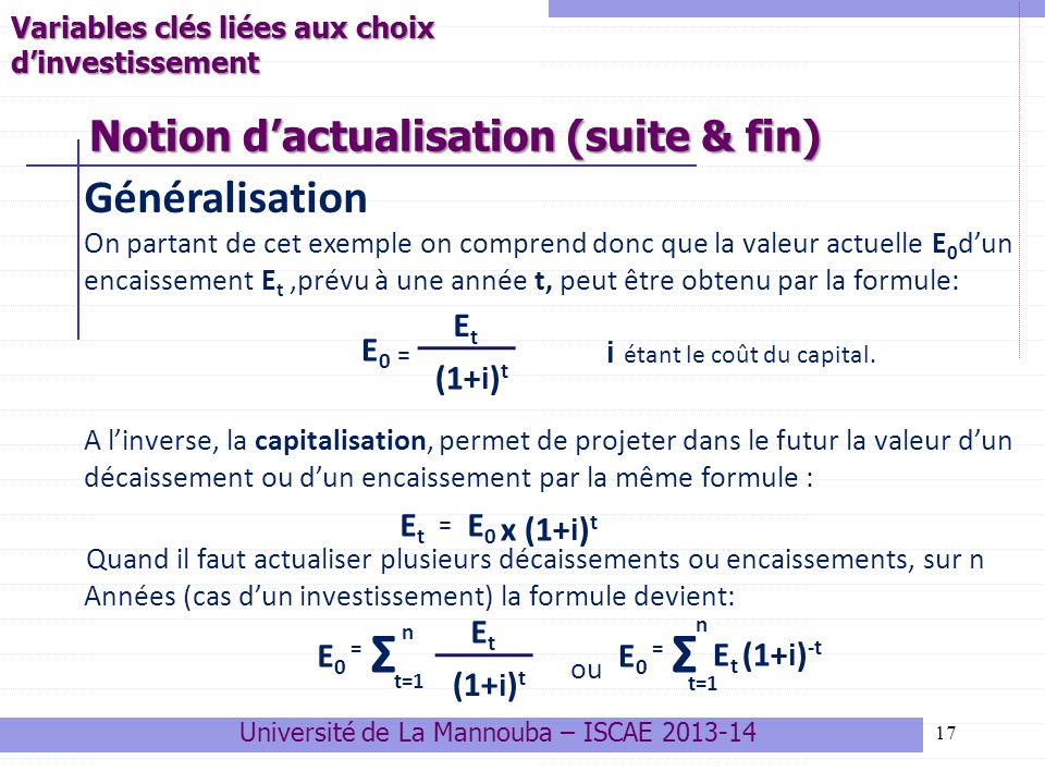 Notion d'actualisation (suite & fin)