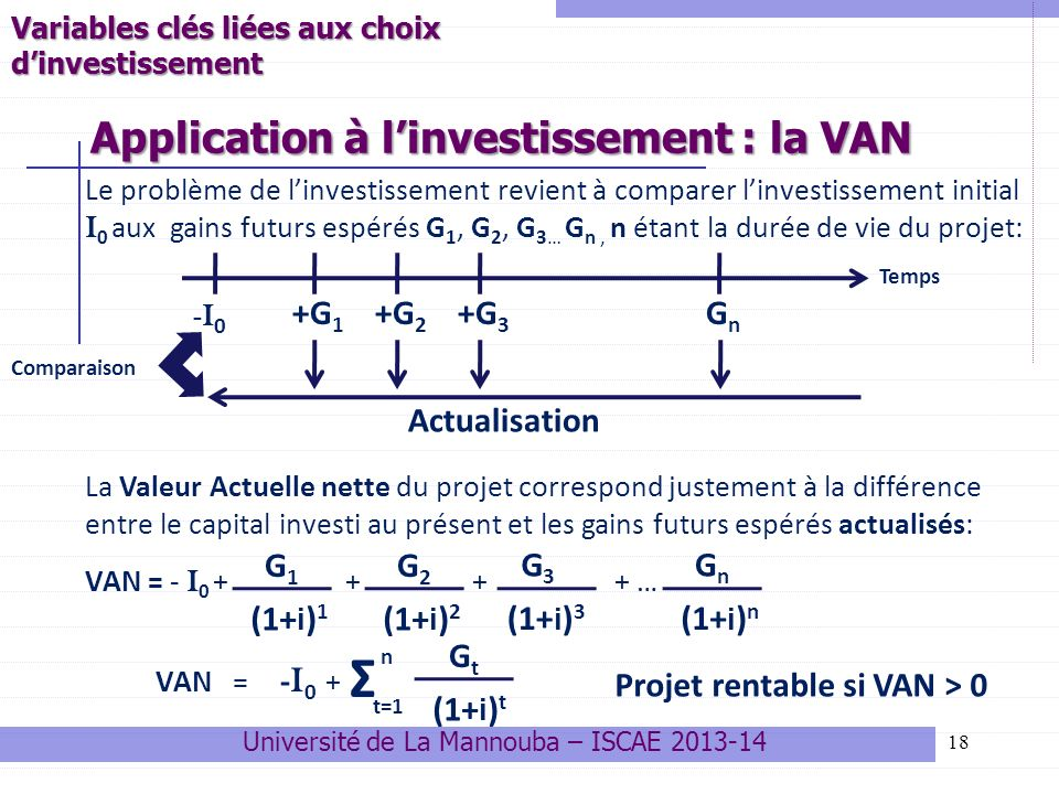 Application à l'investissement : la VAN