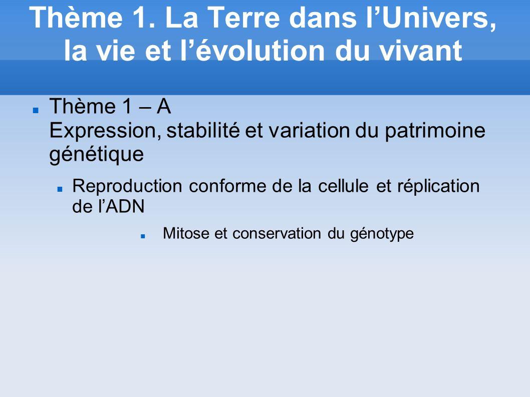 Thème 1. La Terre dans l'Univers, la vie et l'évolution du vivant
