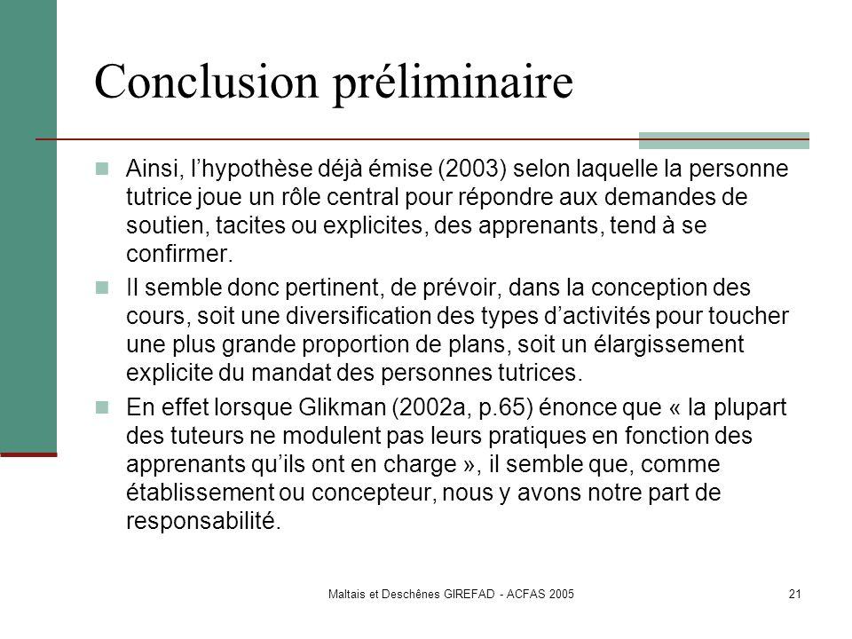 Conclusion préliminaire