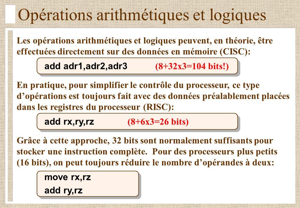Opérations arithmétiques et logiques