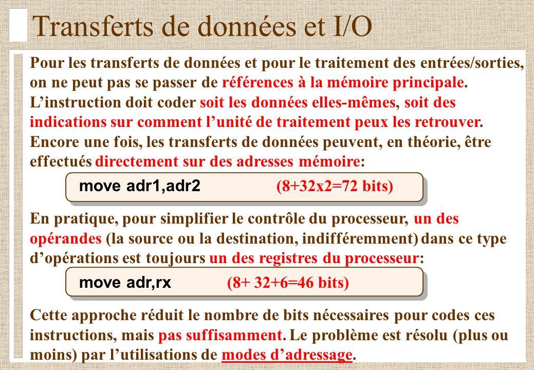 Transferts de données et I/O