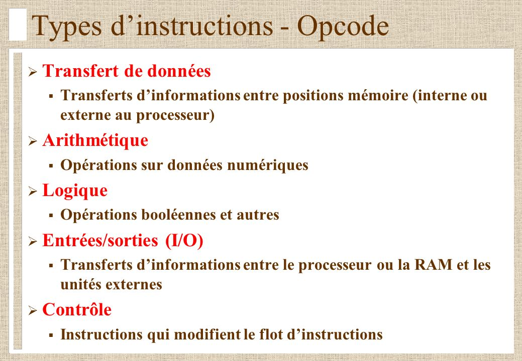 Types d'instructions - Opcode