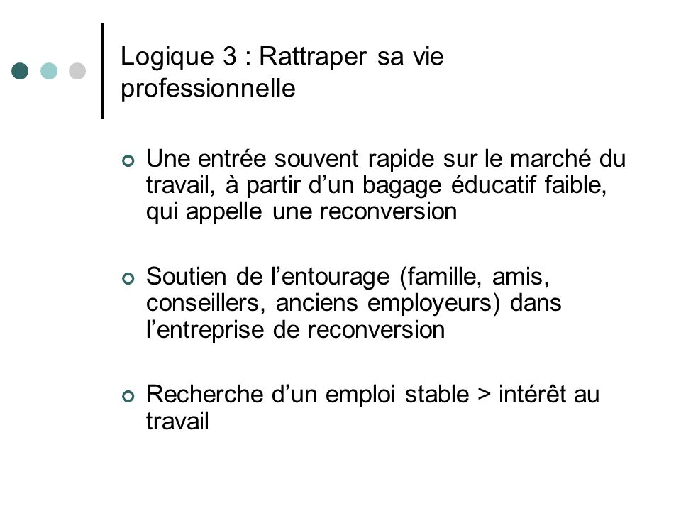 Logique 3 : Rattraper sa vie professionnelle