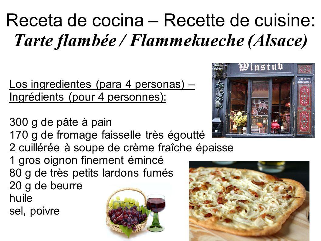Receta de cocina – Recette de cuisine: Tarte flambée / Flammekueche (Alsace)