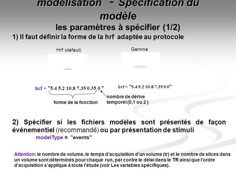 modélisation - Spécification du modèle les paramètres à spécifier (1/2)