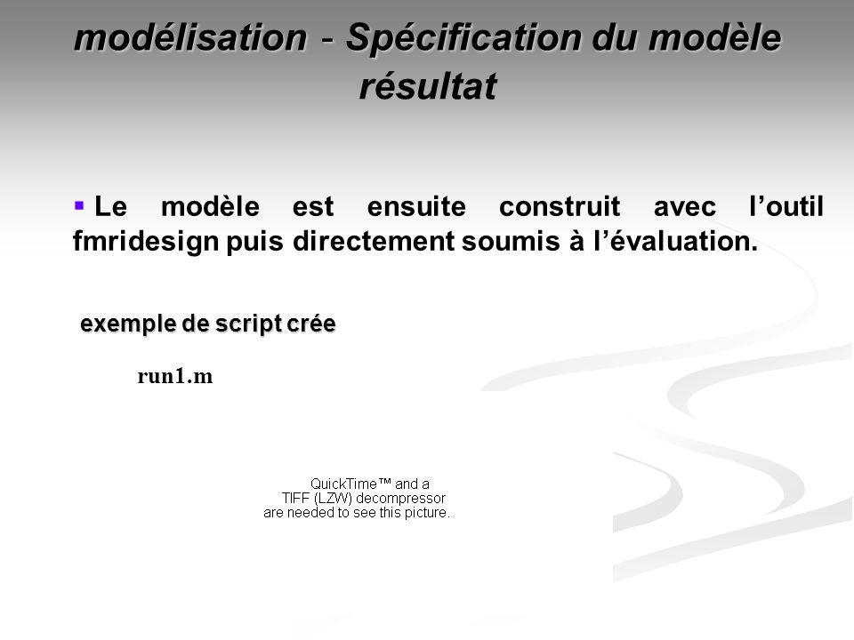 modélisation - Spécification du modèle résultat