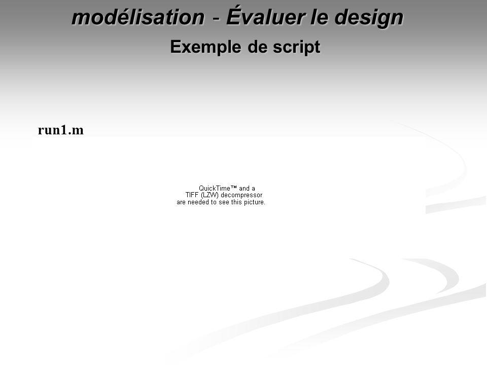 modélisation - Évaluer le design Exemple de script