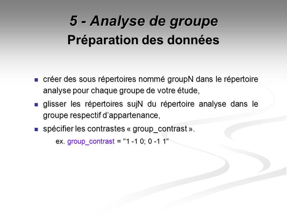 5 - Analyse de groupe Préparation des données