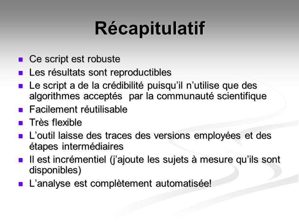 Récapitulatif Ce script est robuste Les résultats sont reproductibles