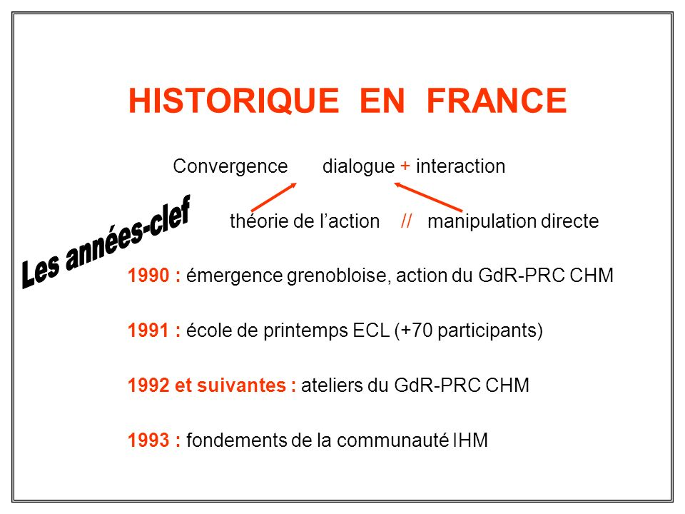 HISTORIQUE EN FRANCE Convergence dialogue + interaction