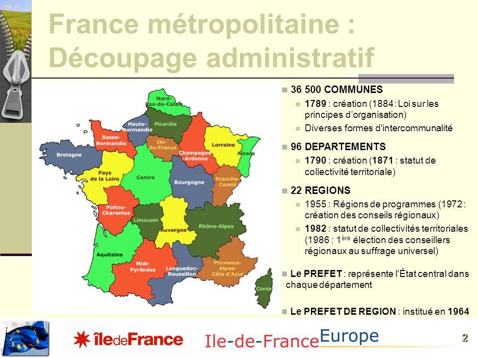 France métropolitaine : Découpage administratif