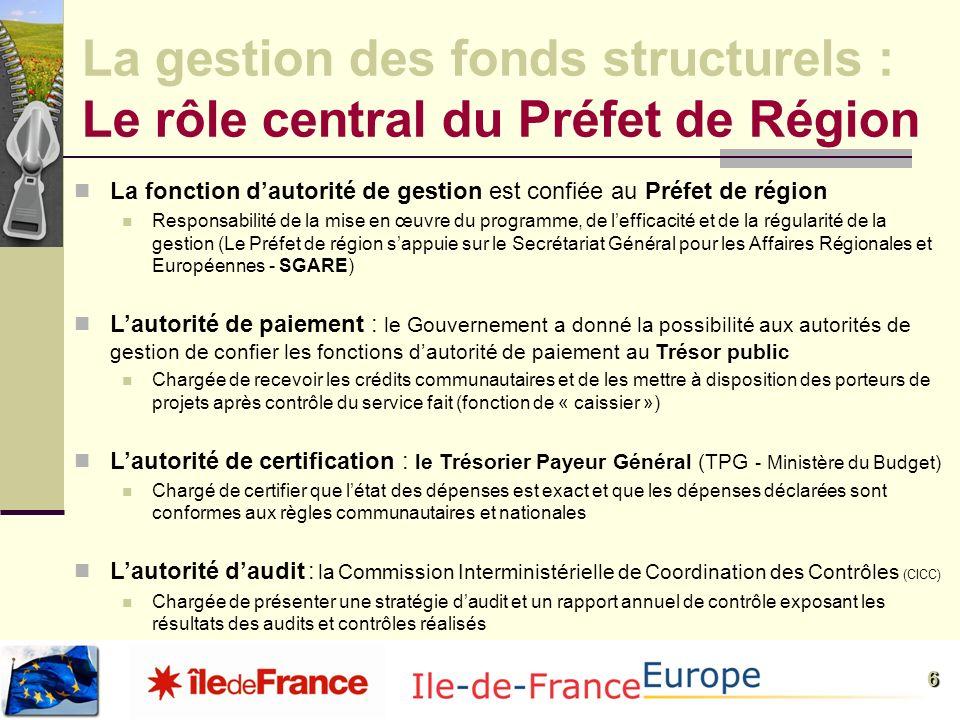 La gestion des fonds structurels : Le rôle central du Préfet de Région