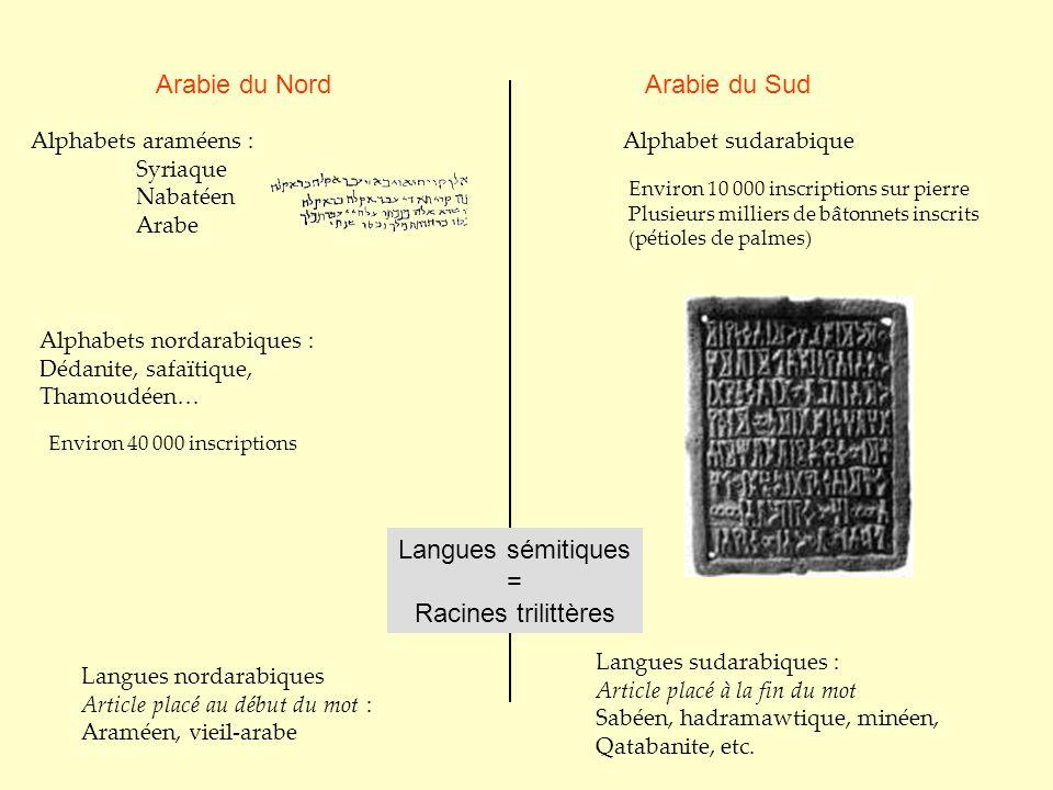 Arabie du Nord Arabie du Sud Langues sémitiques = Racines trilittères