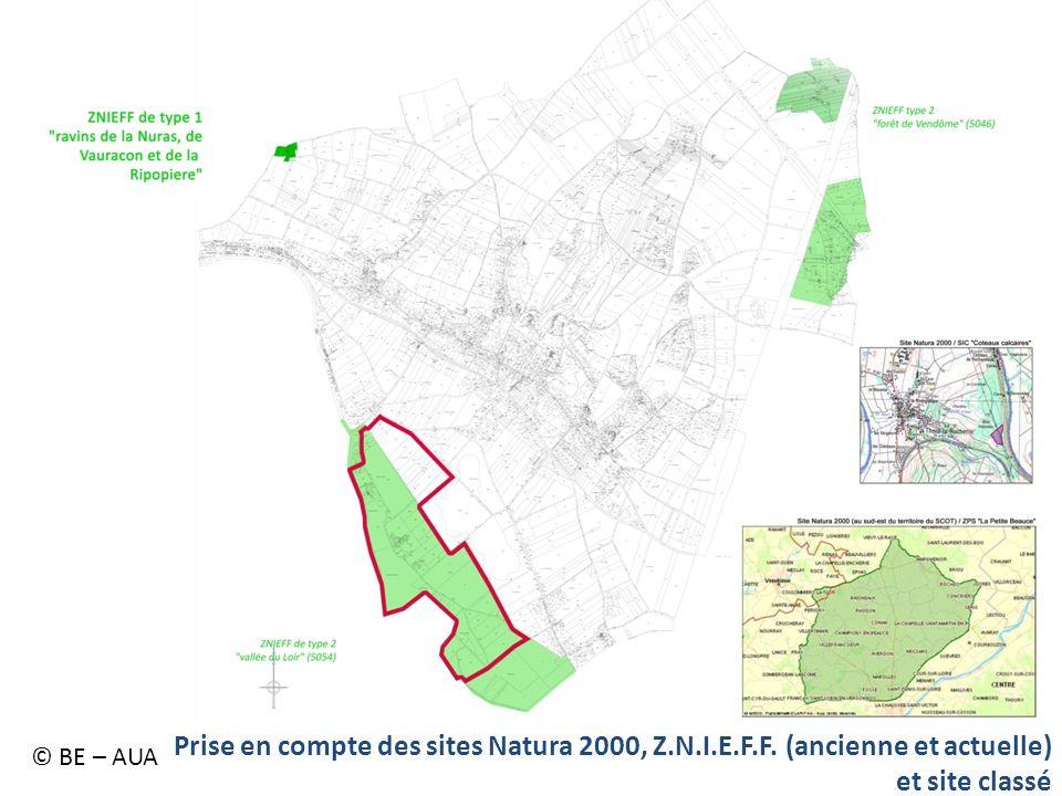 © BE – AUA Prise en compte des sites Natura 2000, Z.N.I.E.F.F. (ancienne et actuelle) et site classé.