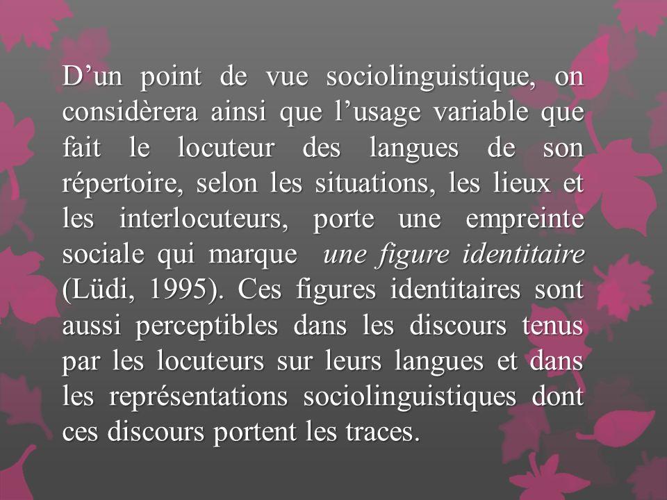 D'un point de vue sociolinguistique, on considèrera ainsi que l'usage variable que fait le locuteur des langues de son répertoire, selon les situations, les lieux et les interlocuteurs, porte une empreinte sociale qui marque une figure identitaire (Lüdi, 1995).