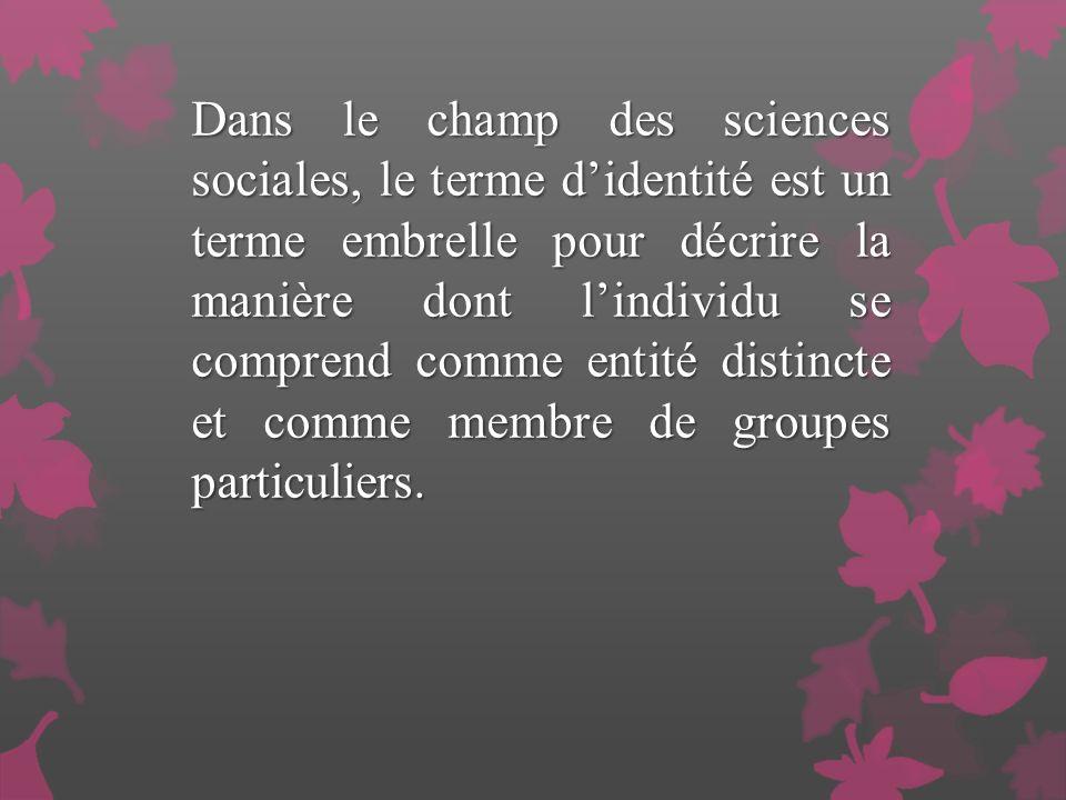 Dans le champ des sciences sociales, le terme d'identité est un terme embrelle pour décrire la manière dont l'individu se comprend comme entité distincte et comme membre de groupes particuliers.