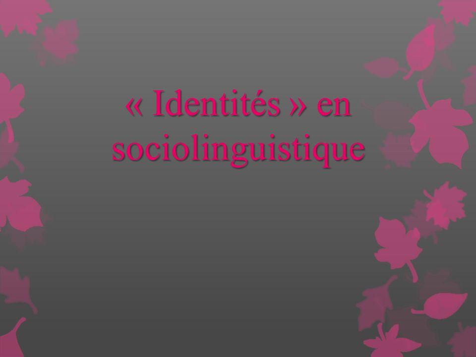 « Identités » en sociolinguistique