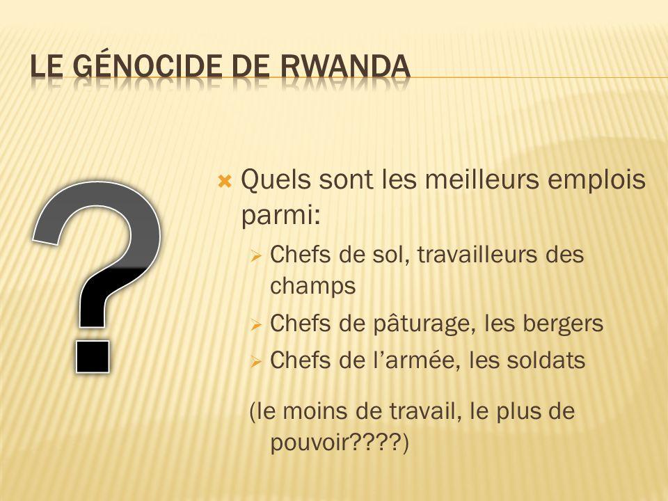 Le génocide de rwanda Quels sont les meilleurs emplois parmi: