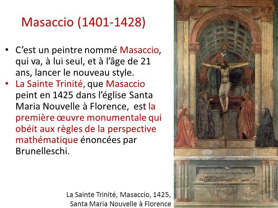 Masaccio (1401-1428) C'est un peintre nommé Masaccio, qui va, à lui seul, et à l'âge de 21 ans, lancer le nouveau style.