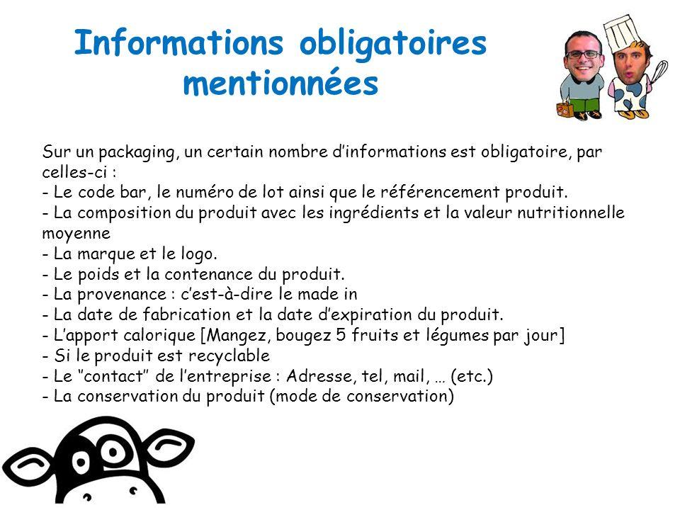 Informations obligatoires mentionnées