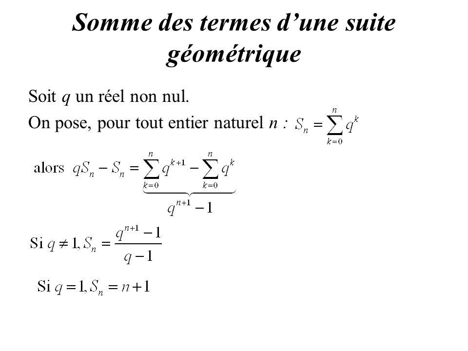 Somme des termes d'une suite géométrique