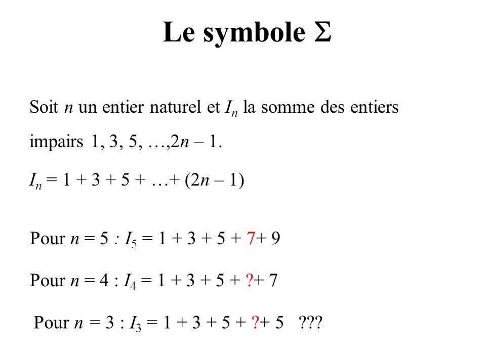 Le symbole  Soit n un entier naturel et In la somme des entiers impairs 1, 3, 5, …,2n – 1. In = 1 + 3 + 5 + …+ (2n – 1)