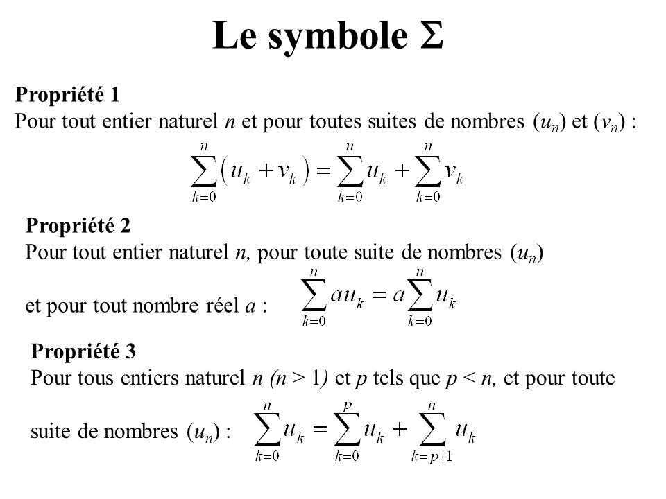 Le symbole  Propriété 1. Pour tout entier naturel n et pour toutes suites de nombres (un) et (vn) :