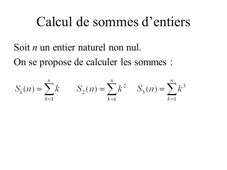 Calcul de sommes d'entiers