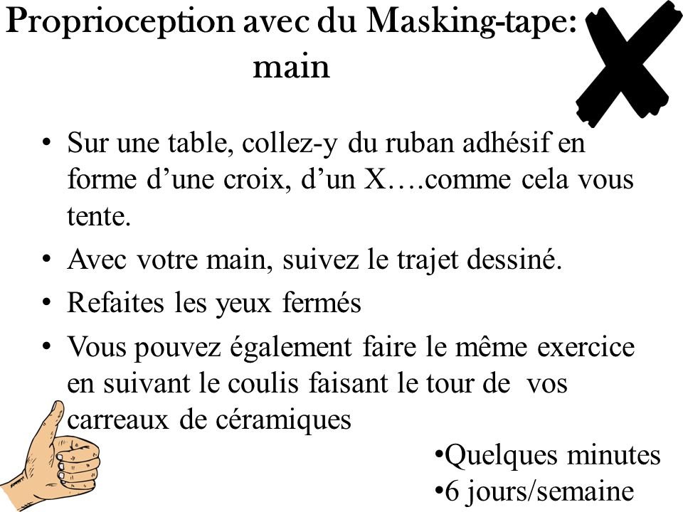 Proprioception avec du Masking-tape: main