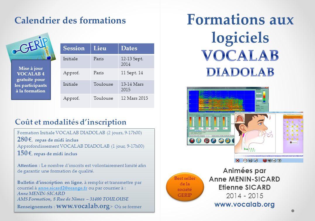 Formations aux logiciels VOCALAB DIADOLAB