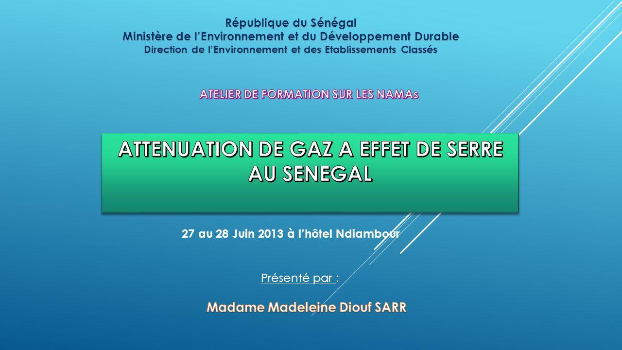 ATTENUATION DE GAZ A EFFET DE SERRE AU SENEGAL
