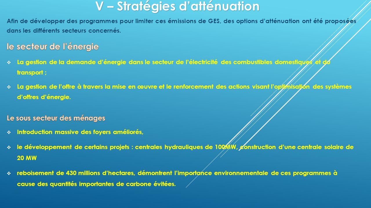 V – Stratégies d'atténuation