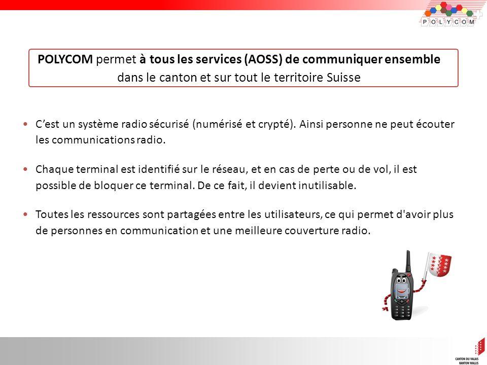POLYCOM permet à tous les services (AOSS) de communiquer ensemble dans le canton et sur tout le territoire Suisse