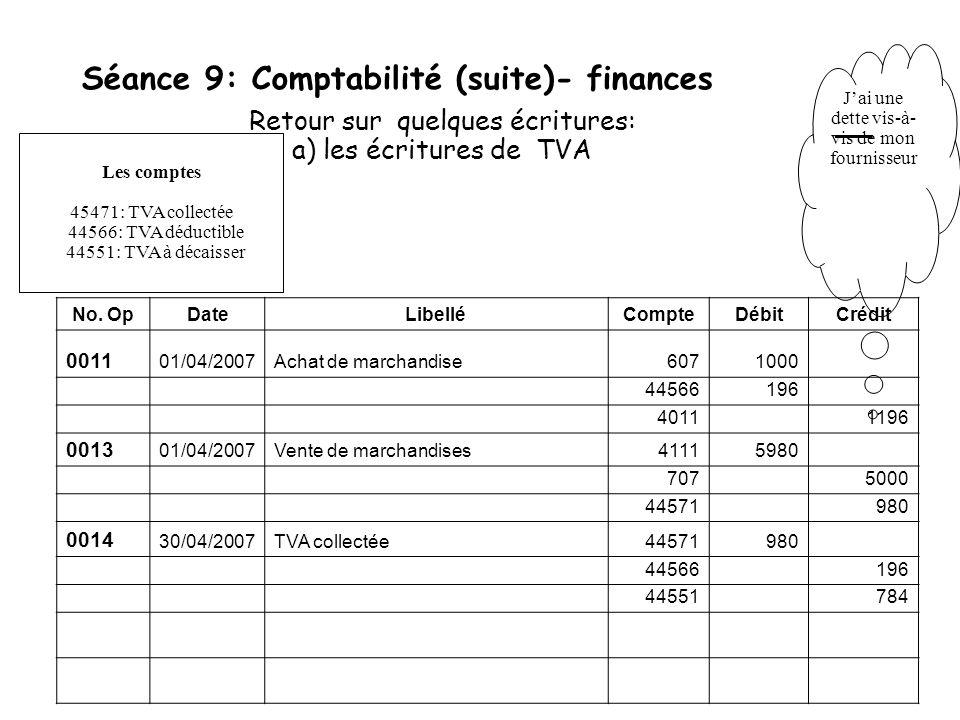 Séance 9: Comptabilité (suite)- finances