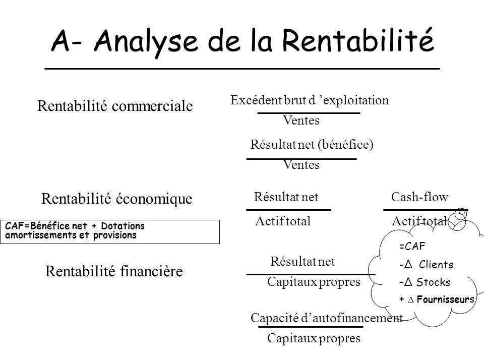 A- Analyse de la Rentabilité