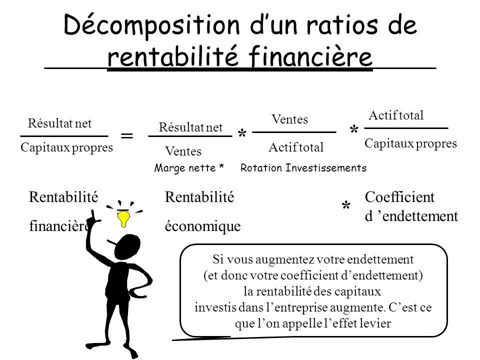 Décomposition d'un ratios de rentabilité financière
