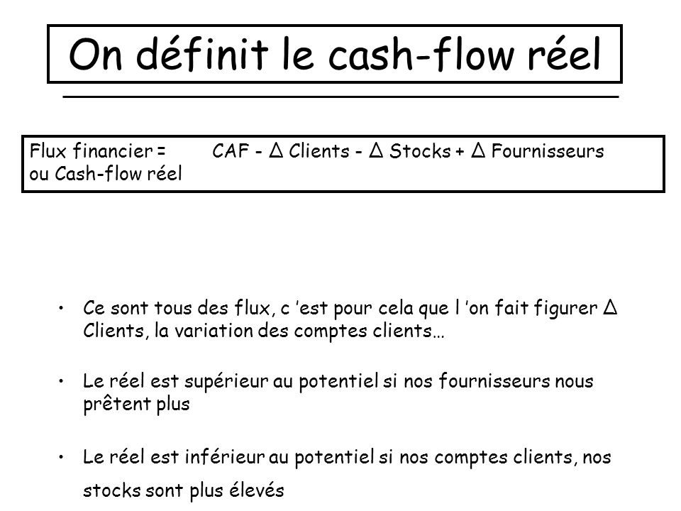 On définit le cash-flow réel