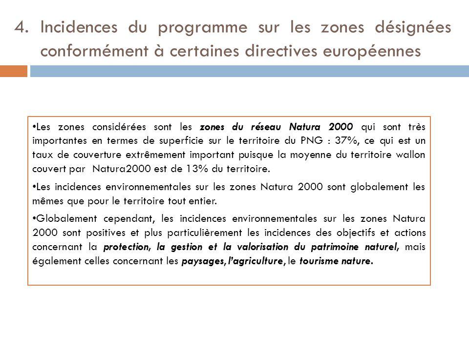 4. Incidences du programme sur les zones désignées conformément à certaines directives européennes