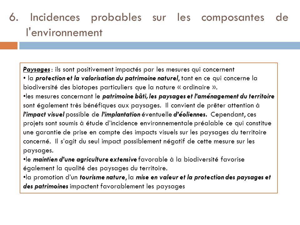 6. Incidences probables sur les composantes de l environnement