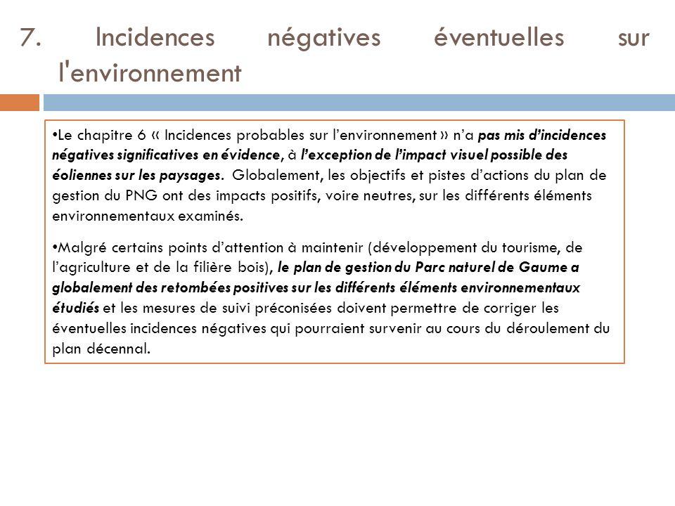 7. Incidences négatives éventuelles sur l environnement