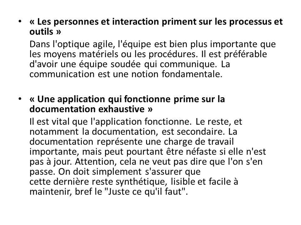 « Les personnes et interaction priment sur les processus et outils »