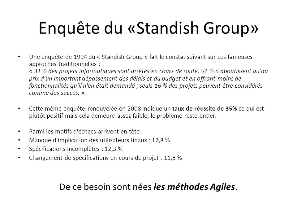 Enquête du «Standish Group»